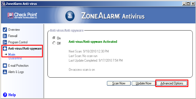 ZoneAlarm Anti-virus
